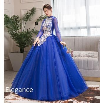 100%real royal blue long sleeve vintage ball gown long dress vintage medieval dress Renaissance princess Victoria dress