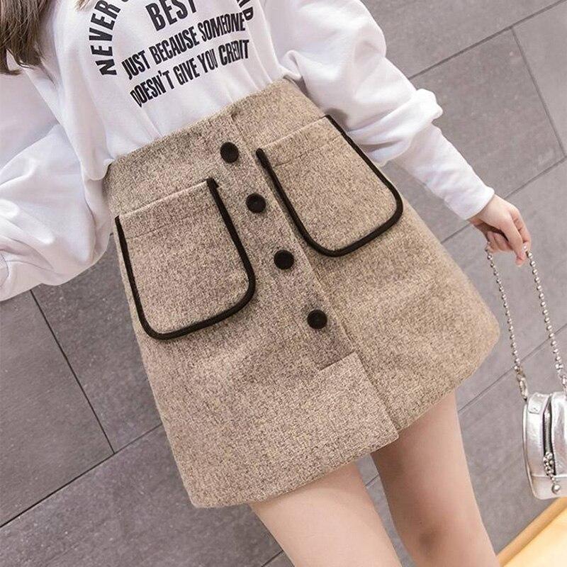 Fashion 2019 Autumn Winter Short Woolen Skirt Women Elegant Button Pocket Mini Skirts Female A Line Wool Faldas Saia Jupe Femme