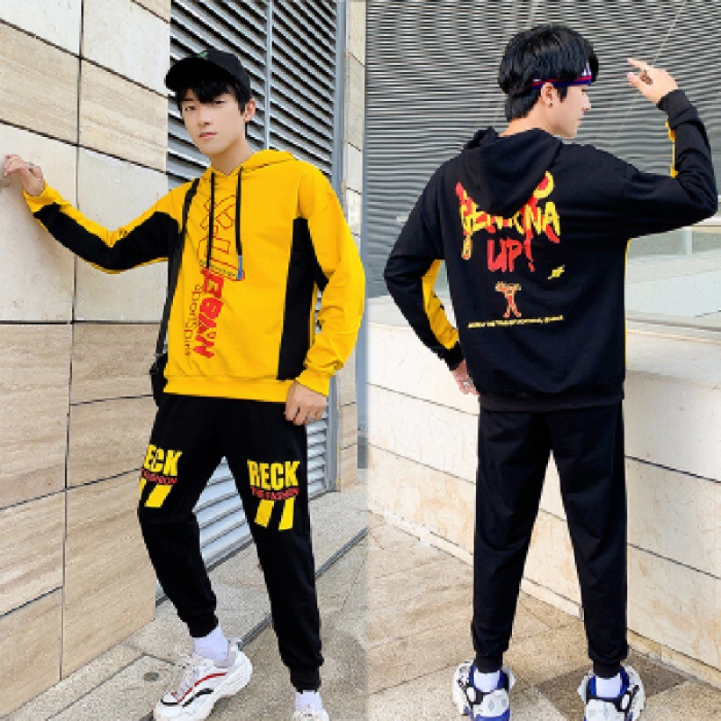 Two-Piece Set Students Spring, Autumn And Winter Men's Korean-style Trend Coat Long-sleeve Sportswear Teenager Casual Hoodie Sui