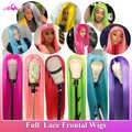 ALI Coco 613 Full Lace Human Hair Wigs Brazilian Remy Straight Green Yellow Pink Red Light Blue Purple Ombre Full Lace Wigs