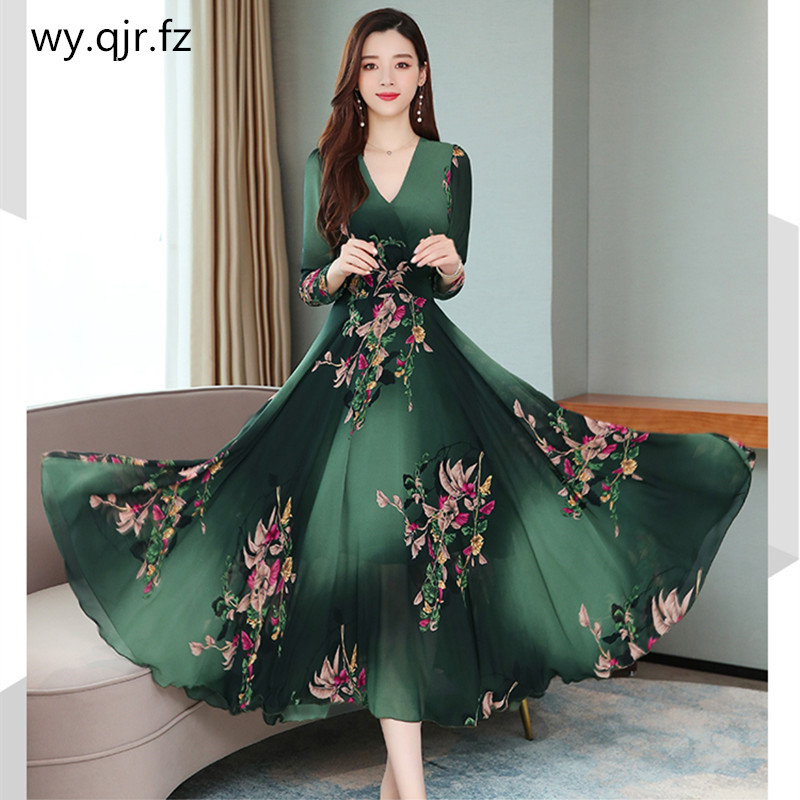 XWWL-722#Evening Dress Long Printing Chiffon Green V-neck Plus Size Cheap Party Prom Graduation Ball Gown Wholesale Dresses Girl