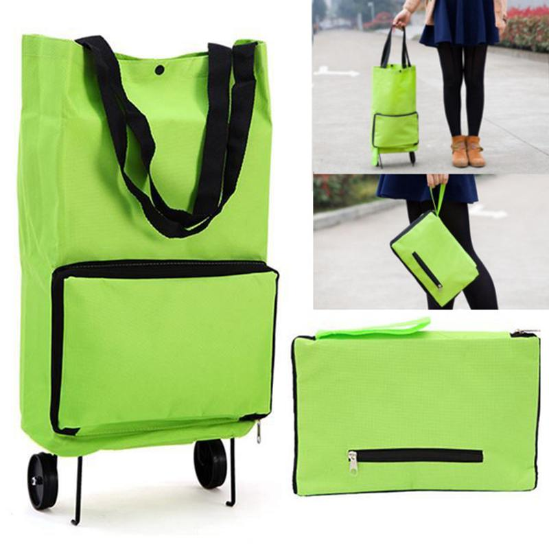 Foldable Supermarket Shopping Trolley Bag Wheel Light Weight Large Capacity Eco Friendly Folding Bag Travel Cart Luggage Green
