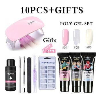Polygel Nail Kit Manicure Set 36W Dryer Lamp For Semi Permanent Varnish Kit Soak Off Nail Art Set Manicure Art Tools Polygel Kit 6