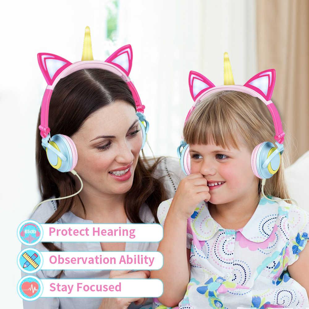 Original ยูนิคอร์นหูฟัง LED กระพริบเด็กหูฟังเพลงหูฟังแบบมีสายหูฟังเด็กของขวัญ