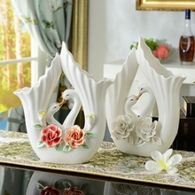 Modern Ceramic Flower Vase Home Furnishing Decorative Ornaments Hand Color Flower Swan Vase Wedding Gifts Birthday