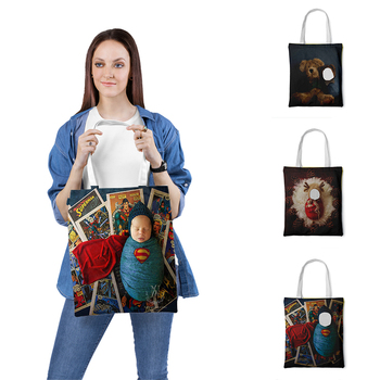 Custom Tote-Bag Canvas-Bags Child Photo Printed On Bag Unisex Handbags Print Your Design Reusable Travel Casual Shopping Bag casual women s tote bag with leopard print and canvas design