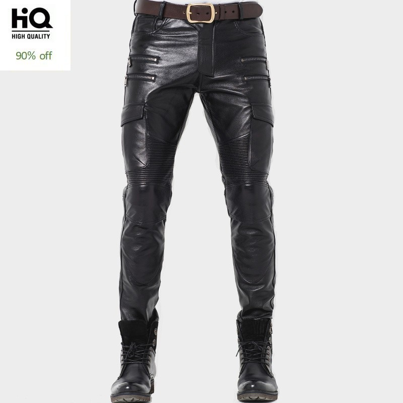 Winter Luxury Mens Genuine Leather Pants Skinny Motorcycle Cowhide Leather Pants Warm Windproof Long Trousers Man Slim Fit Pants