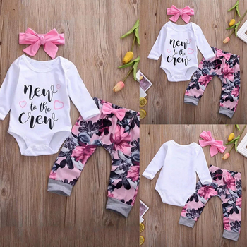 3Pcs Autumn Newborn Baby Girl Clothes Set Letter Printed Long Sleeve Romper Floral Pants Headband Infant Clothing Outfits D30 chivry 4pcs cute infant baby girls boys unicorn clothing long sleeve bodysuit top pants headband hat girl outfits clothes set