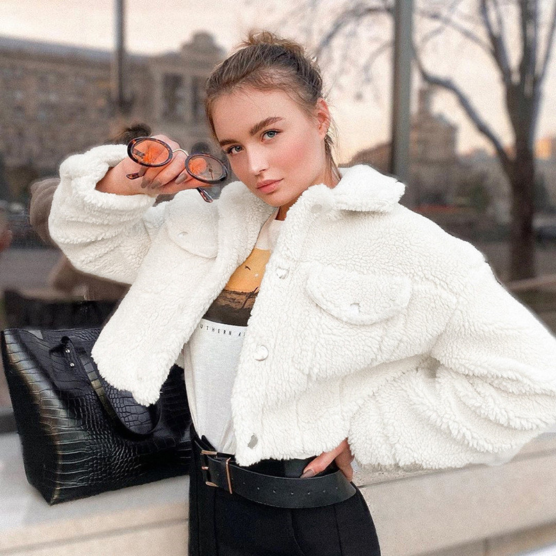 Focal20 Streetwear Solid Color Fluzzy Women Crop Coat Dual Pocket Button Lady Jackets Outers Casual Warm Winter Lady Coats Tops 9