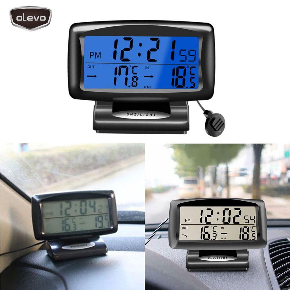 Car Clock 12V Car Watch Dual Temperature Digital Time Electronic Clock Blue Backlight Dashboard Clock Digital Car Thermometer