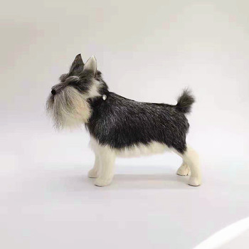 new real life Schnauzer dog model plastic&furs simulation gray dog doll gift about 28x22cm xf2744