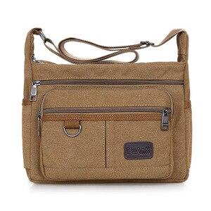 Image 1 - Omuzdan askili çanta tuval Crossbody paketi büyük kapasiteli çok cep çanta askılı çanta serin tuval rahat seyahat okul çantaları