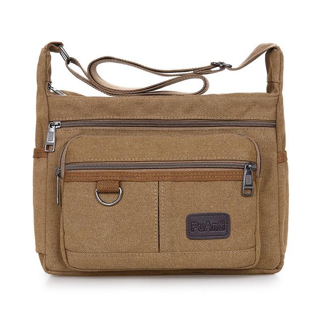 Omuzdan askili çanta tuval Crossbody paketi büyük kapasiteli çok cep çanta askılı çanta serin tuval rahat seyahat okul çantaları