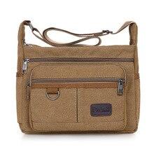 Schoudertas Canvas Crossbody Pak Grote Capaciteit Multi Pocket Handtas Messenger Bag Cool Canvas Casual Reizen Schooltassen