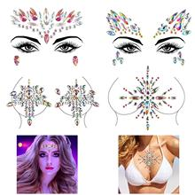 FEECOLOR 4 Pack Glitter Face Gems Rhinestone Temporary Tattoo Mermaid Jewels Crystal Eyebrow Body Sticker for Rave Festival