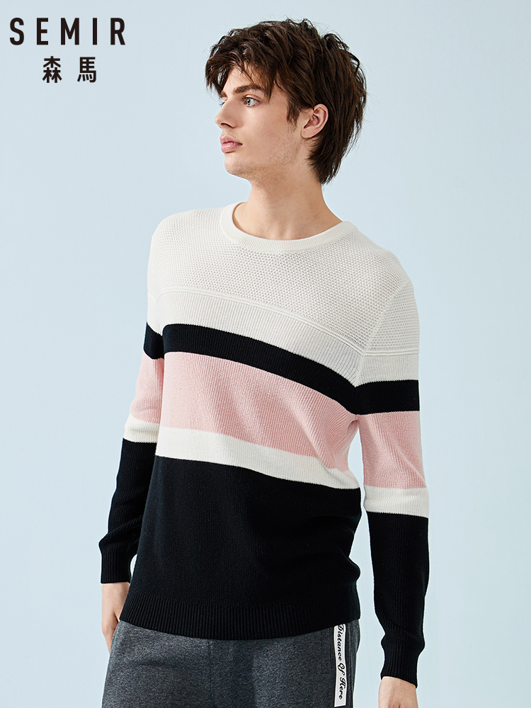Semir Sweater Men Color Striped Round Neck Pullover Sweater Men's Spring College Wind Sweater 2019 New Top Clothes
