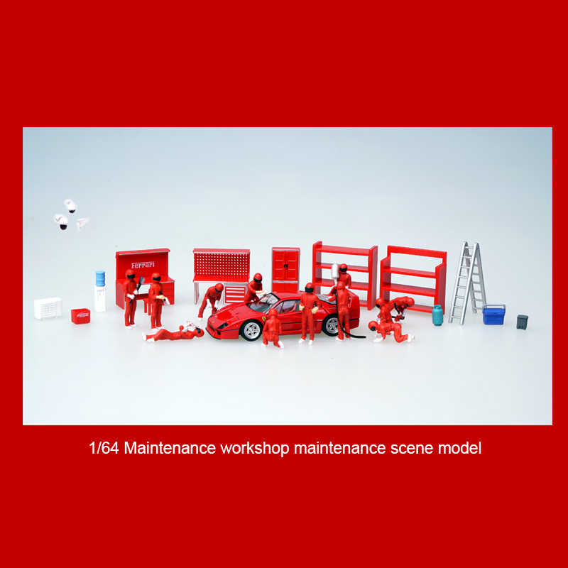 1/64 оборудование для дорожного движения, сцена, коллекция имитации, инструменты для украшения, аксессуары, Ремонтный магазин, работник, модель куклы