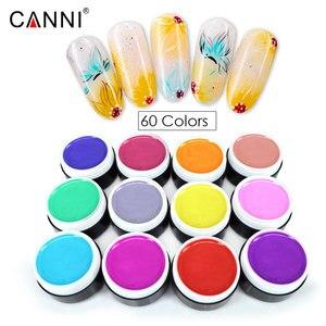 Image 4 - 60 teile/los CANNI Farbe Gel Schnelle Trockene Reine Glitter Farben Gel Lack Lack 5ml Kunststoff Jar UV LED Nagel kunst Malerei Gel