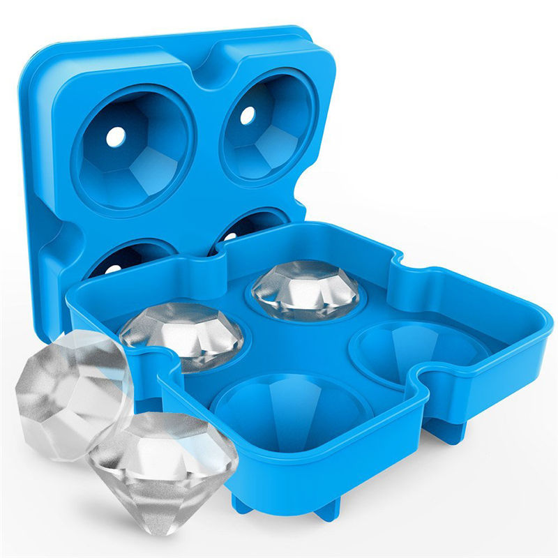 new 4 cavity silicone diamond shaped 3d ice cube mold maker tray for bar and party