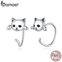 bamoer Genuine 925 Sterling Silver Minimalist Cute Tail Stud Earrings for Women Animal Fashion Jewelry Orecchini SCE965