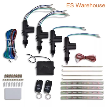 ES warehouse Universal 12V Car Central Door Lock Auto Burglar Alarm System Anti-theft Remote Central Kit with Remote Control