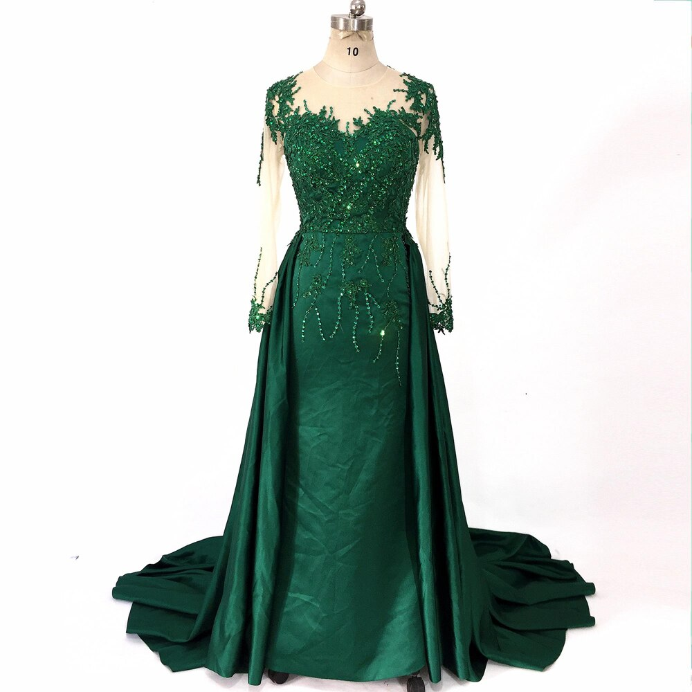 Dubai Arabic Lace Appliques Green Mermaid Prom Dresses 2020 Beading Crystal Satin Sequined Evening Party Gowns Long Sleeves