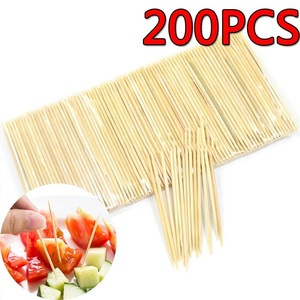 200PCS Disposable Bamboo Toothpick Disposable Natural Toothpicks Fruit Single Sharp Tooth Sticks Family Restaurant Accessories
