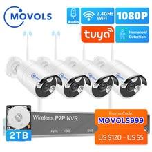MOVOLS H.265 Drahtlose CCTV System 8CH 1080P Tuya NVR 2MP Outdoor Wasserdicht Wifi IP Security Kamera Audio Video Überwachung kit