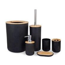 Bathroom Accessories Set 6 Pieces Bamboo Room Set Toothbrush Holder Soap Dispenser Toilet Brush Trash Can Bathroom Essential Set