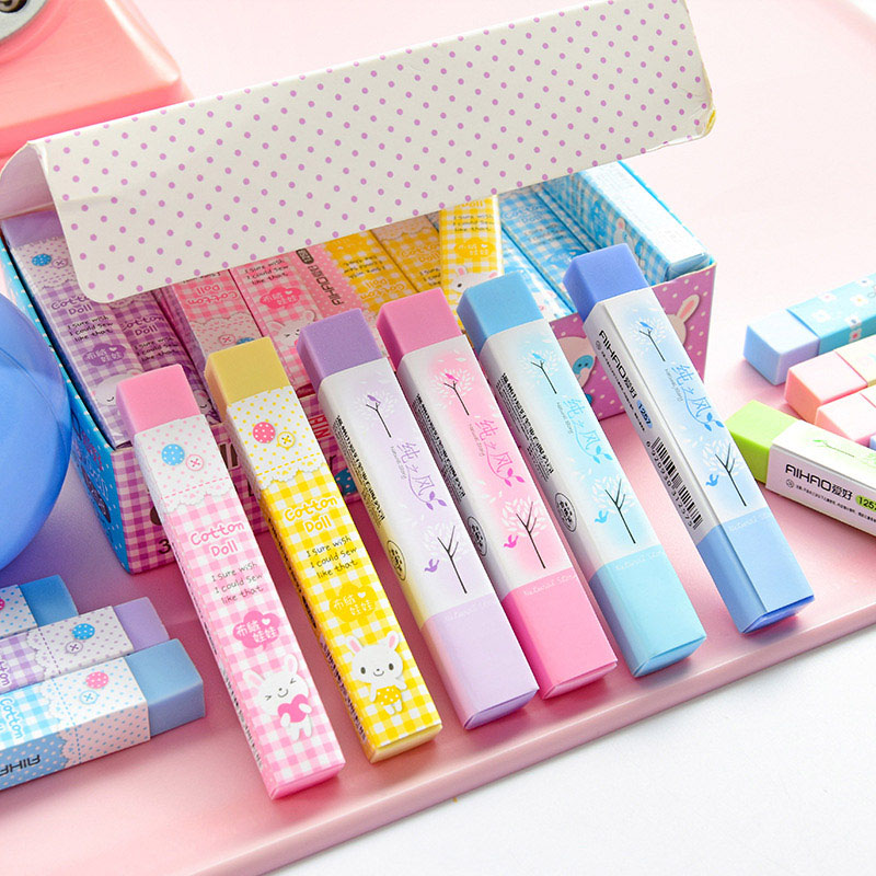 Cute Kawaii Cotton Doll Rubber Eraser Lovely Colored Eraser For Kids Girls Student Gift School Supply Stationery