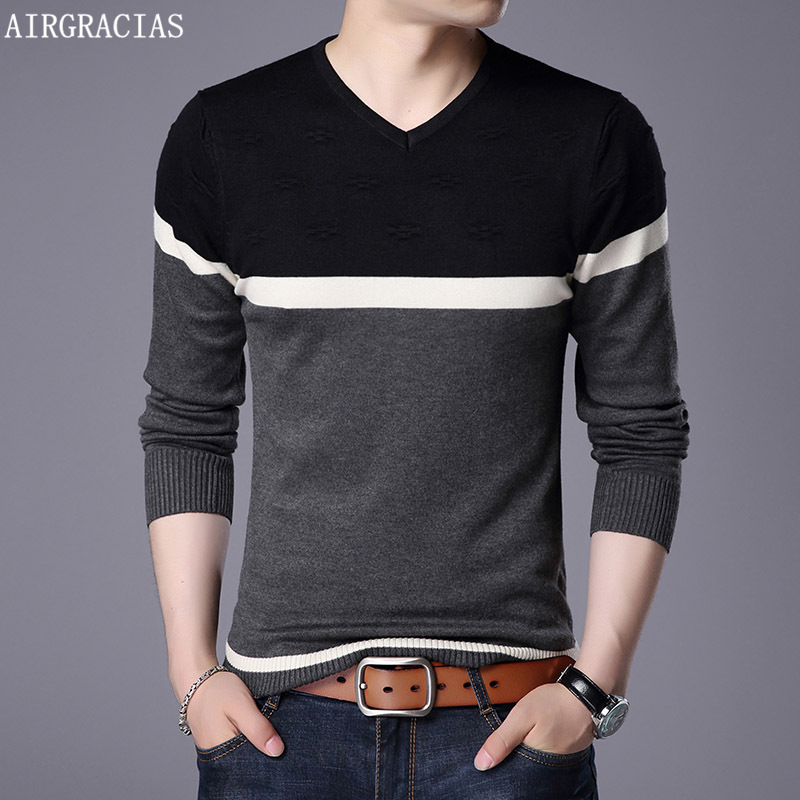 AIRGRACIAS 2019 New Brand Sweater Men Pullovers Patchwork Color Slim Fit Knitred Woolen Autumn Slim Style Casual Men Clothes