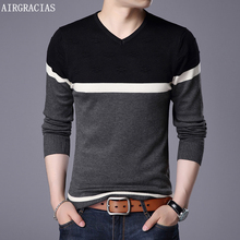 AIRGRACIAS 2019 New Brand Sweater Men Pullovers patchwork color Slim Fit Knitred Woolen Autumn Style Casual Clothes