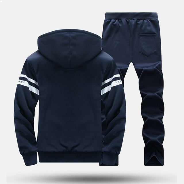 Causal Tracksuits Men Set  Fleece Hoodies + Sweatpant   4