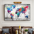 Colorful rich world map home decoration wall art canvas pictures for living room bedroom home decoration painting pictures