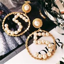 Women Female Vintage Long Big Dangle Drop Earrings Fashion Hyperbolic Pearl Number 5 Metal Earrings Jewelry Wholesale-MS-W17