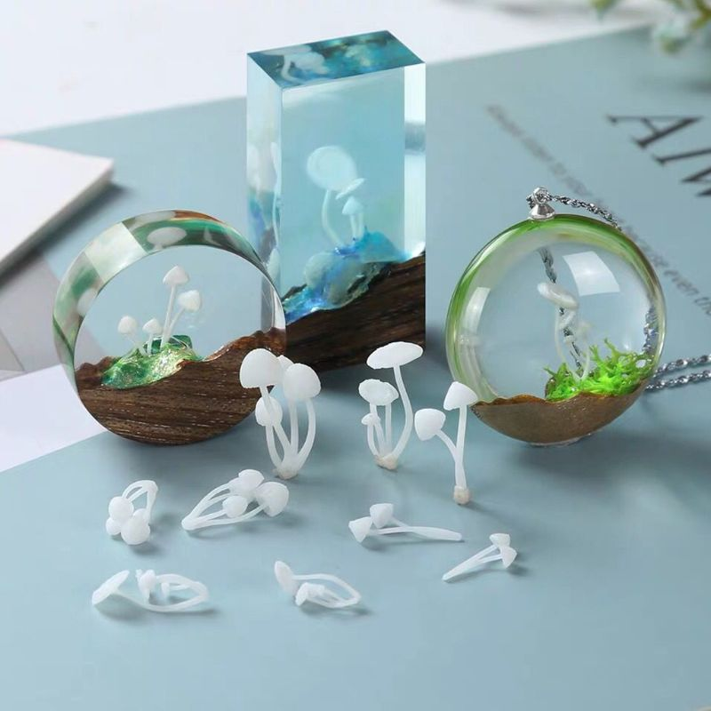 3Pcs Micro Landscape Mini Mushroom Filiings Resin UV Epoxy Jewerly Filler Molds Jewelry Making Accessories