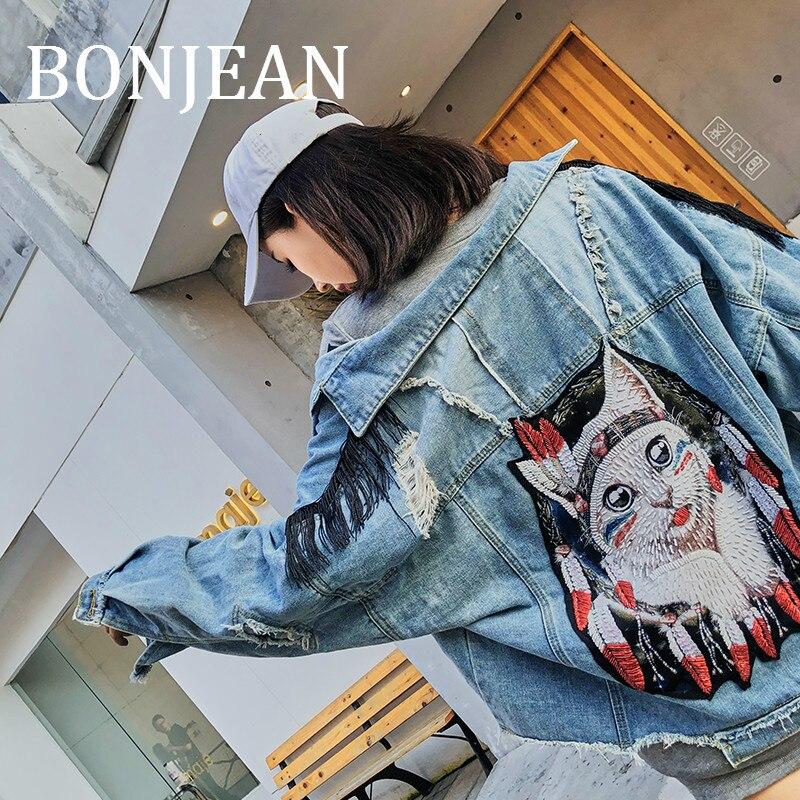 BONJEAN chat motif veste avec pompon 2019 femmes automne vêtements trou décoration Denim veste Appliques bleu Jeans manteau BJ1799