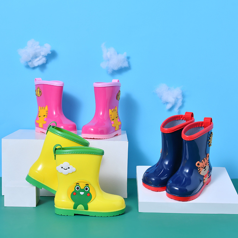 Children Rain Shoes Rubber Boots For Boys Girls Cartoon Kids Water Shoes Waterproof Cute Animals Anti-skid Fashion Soft Boots