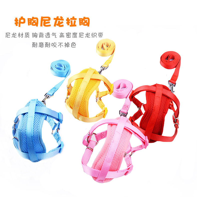 Small And Medium Dog Hand Holding Rope Chest Protector Nylon Pull Chest Dog Chest And Back With Plain Color Mesh Chest And Back