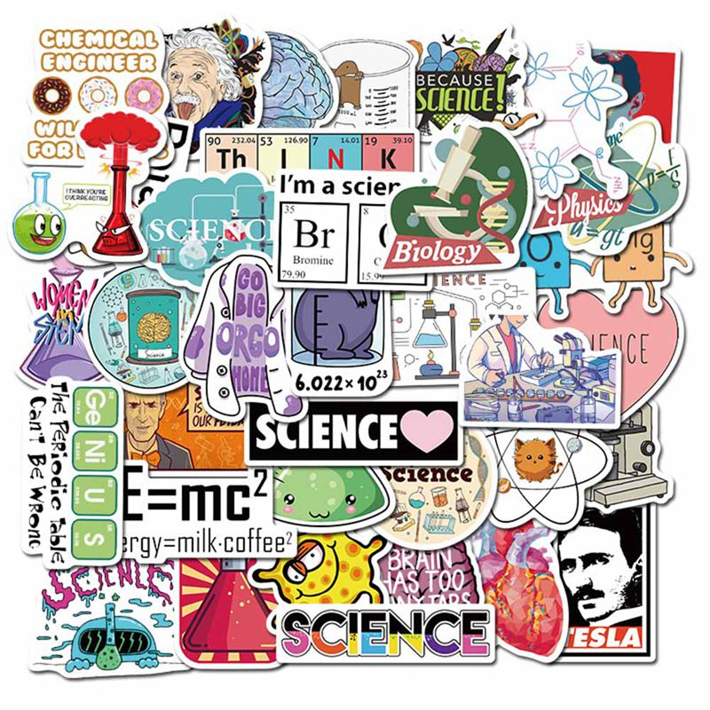 50 Pcs Science Chemistry Lab Stickers For Waterproof Decal Laptop Motorcycle Luggage Snowboard Car Decoration Sticker