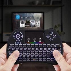 Mini bezprzewodowa klawiatura USB Air Mouse podświetlany Touchpad kolor podświetlany Air Mouse dla TV X-pudełko Laptop Smart TV odtwarzacz dysków twardych HTPC