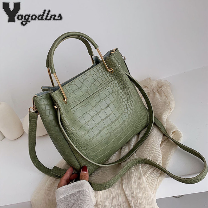Stone Pattern PU Leather Bucket Bags For Women 2021 Small Shoulder