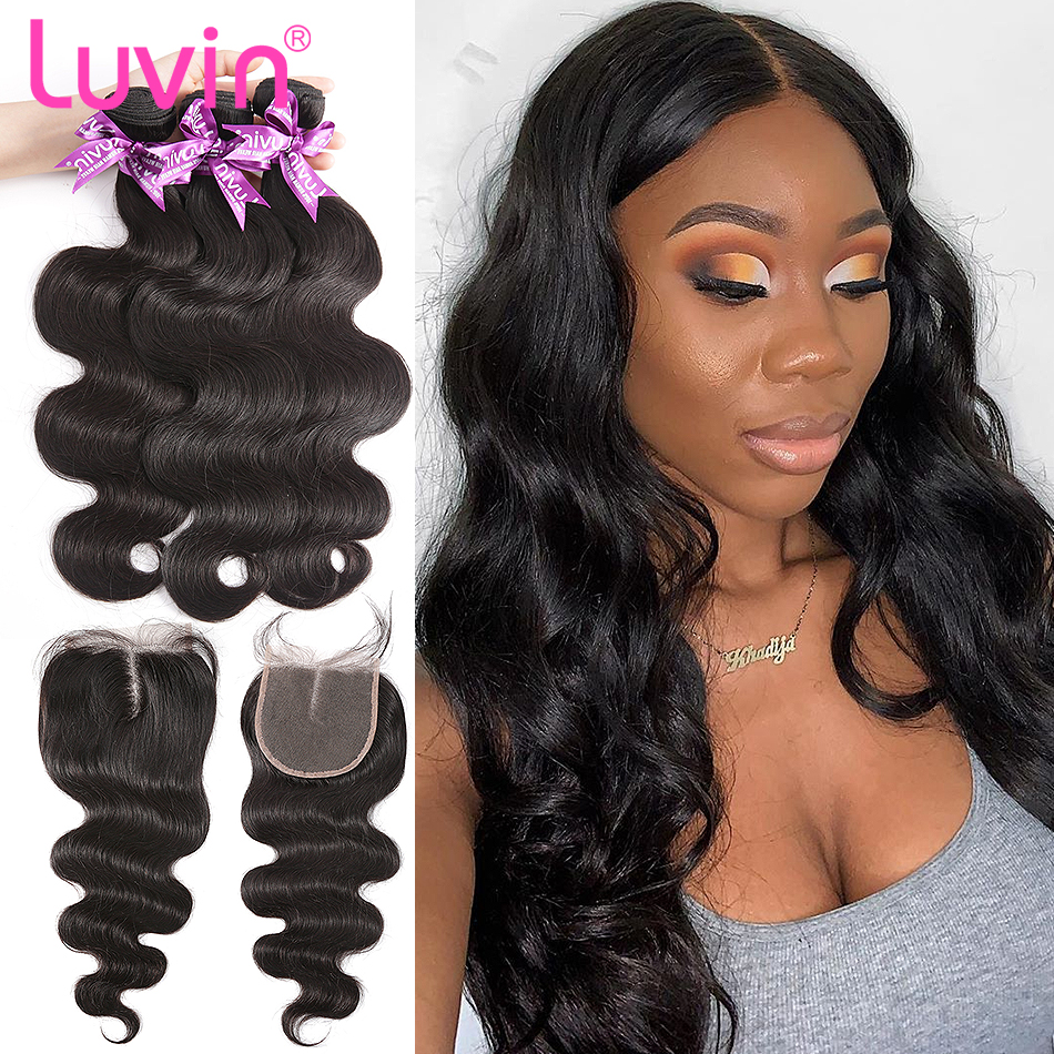 Luvin Body Wave 28 30 32 40 Inch Malaysian Remy Hair 3 4 Bundles With Lace Closure Bundles Human Hair Weaves Closures