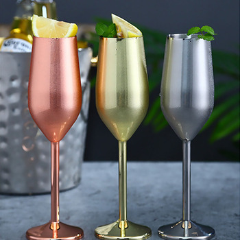 Stainless Steel Wine Glass 220ml Champagne Cup Metal Cocktai Goblet for Bar Restaurant, Godlen