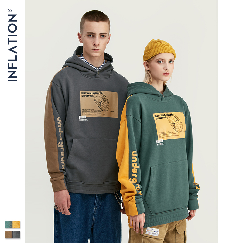 INFLATION 2019 Men Hoodies Dropped Shoulders Hoodie With Printed Logo And Contrast Color Men Hoodies Street Wear  9611W