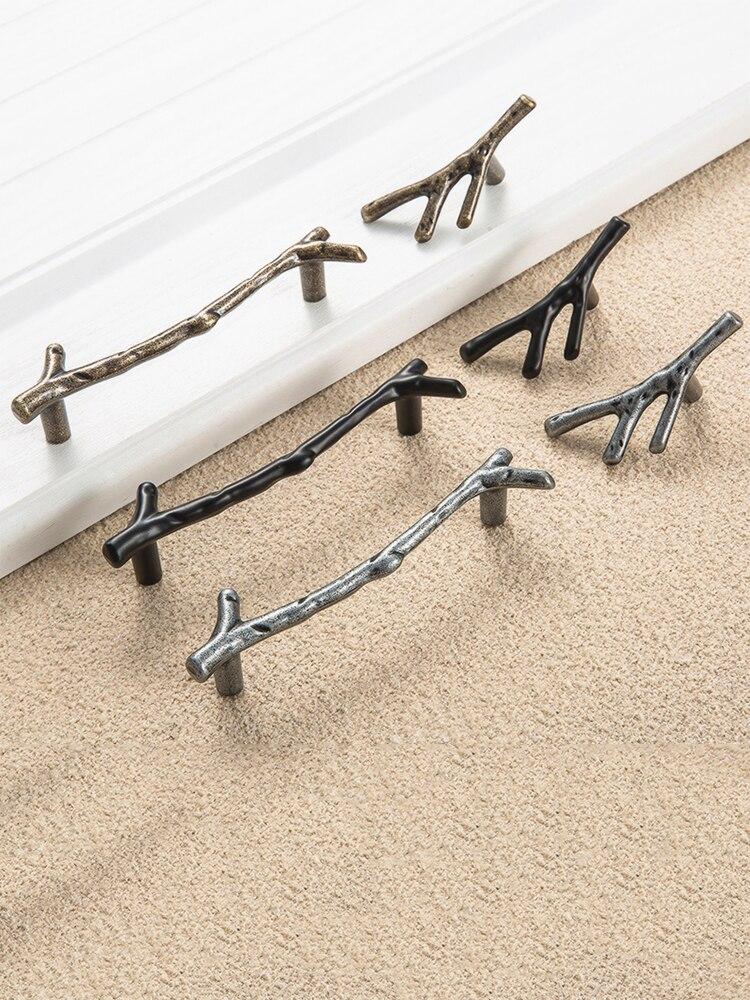 Hardware Furniture-Handle Pulls Knobs-Door Drawer Tree-Branch Bronze Silver Black 128mm