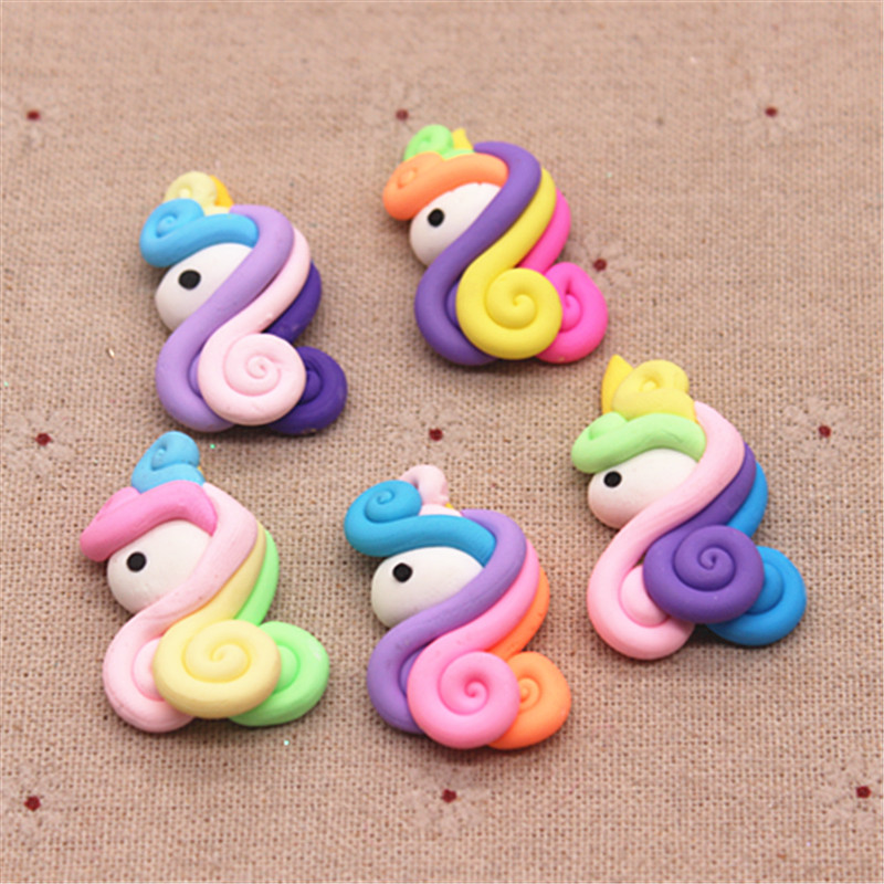 5pcs Cute Mix Colors Handmade Polymer Clay Unicorn Minature Craft DIY Hair Bow Center Accessories,about 25*38mm