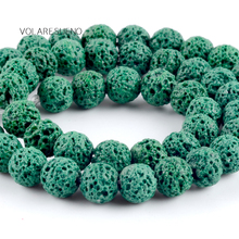 """Natural Green Volcanic Lava Stone Round Loose Beads For Jewelry Making 6-12mm Spacer Beads Fit Diy Bracelets Accessory 15""""Strand цена 2017"""