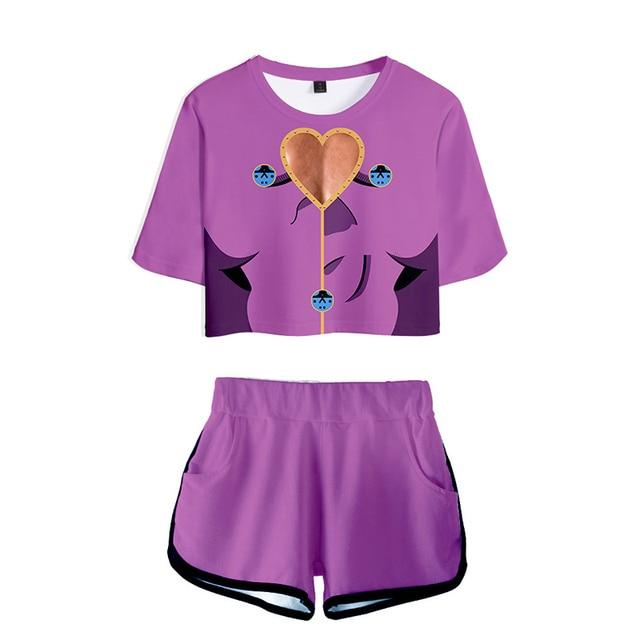 Japanese Anime Jojo Bizarre Adventure Cosplay Costume Sportswear Girls 3D Jojo Bizarre Adventure T-shirt shorts Suits Women 3