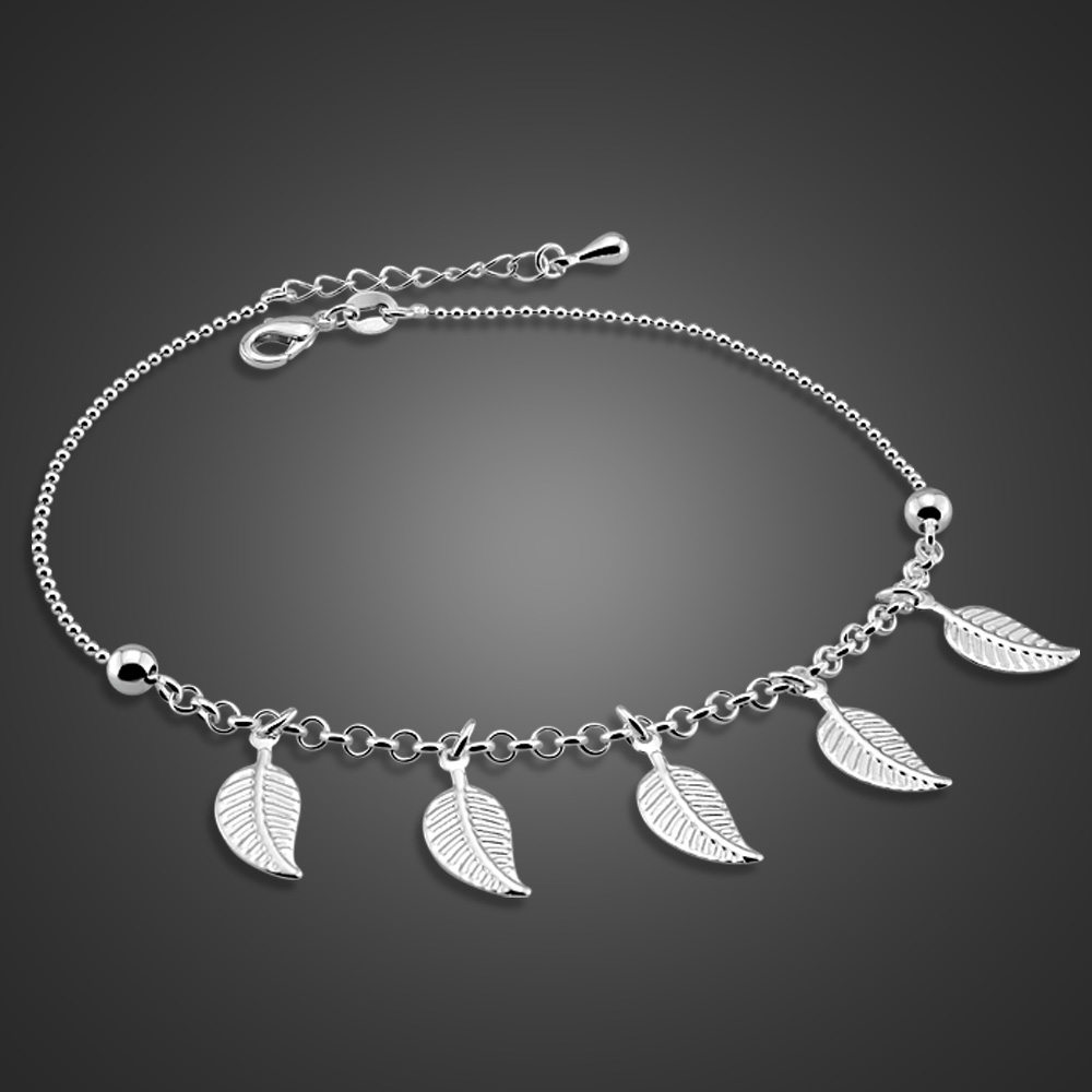 New 100% 925 Sterling silver leaves Anklets Women Summer Beach Barefoot Sandals Bracelet ankle on the leg Foot Accessories